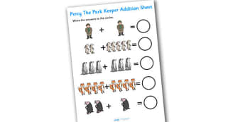 Addition Sheet to Support Teaching on Percy the Park Keeper - percy the park keeper, addition, sheet, addition worksheet, percy the park keeper worksheet, numeracy, maths, adding