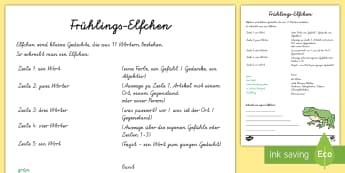 Frühlings - Elfchen Arbeitsblatt - Frühling, spring, poem, Elfchen, German