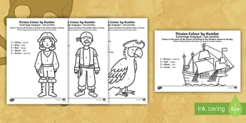 Pirates Colour by Number English/French - Pirates Colour by Number - pirates, colour, number, activity, coloyur by number, pirtaes, prirate, E