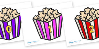 Numbers 0-31 on Popcorn - 0-31, foundation stage numeracy, Number recognition, Number flashcards, counting, number frieze, Display numbers, number posters