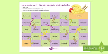 April Fools' Snakes and Ladders French - Poisson d'avril, April Fools Day, April Fool's Day, 1st April, 1er avril, premier avril, joke, bla