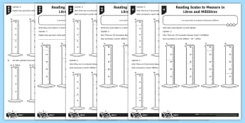 Reading Scales in Litres and Millilitres Differentiated Activity Sheets - measurement, volume and capacity, capacity, scales, litres, measure compare add and subtract volume/