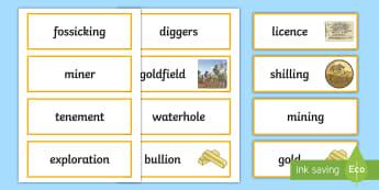 Gold Rush Word Cards - Gold Rush, Eureka Stockade, gold, history, Australia,Australia
