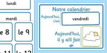 Weather Calendar French - french, weather, calendar, france, francais,waether,calandar