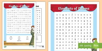 Elements of Drama Word Search - ROI Drama, elements of drama, plays, acting, theatre, ,Irish