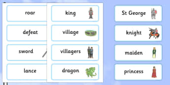 St George And The Dragon Story Word Cards - St George, princess, maiden, dragon, Margaret Hodges, word card, flashcards, cards, king, story book, book, book resources, story