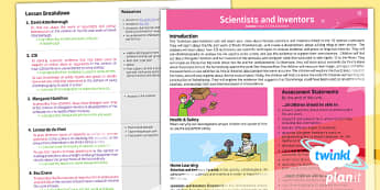 PlanIt - Science Year 5 - Scientists and Inventors Planning Overview - planit, science, year 5, scientists and inventors, planning overview