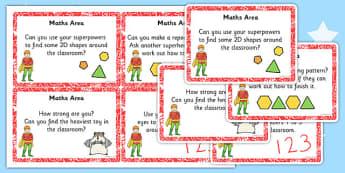 EYFS Superhero Themed Maths Area Challenge Cards - superhero