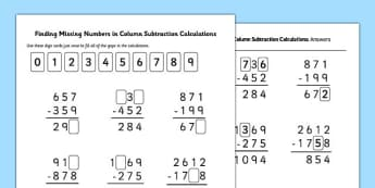 Find Missing Numbers in Column Subtraction Calculations - Inverse, missing, numbers, subtraction, column