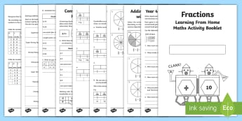 Year 4 Fractions Learning From Home Maths Activity Booklet - Learning from Home Maths Workbooks, Home education maths, home edcuation fractions, fractions workbo