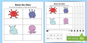 Phonics Screening Phase 2, 3, and 5 Phonics Cut and Stick Activity - phonics screening, phonics, reading, grapheme, phoneme, digraph, trigraph, nonsense words, alien wor