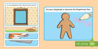 The Gingerbread Man Playdough Mats - Gingerbread man, mat, playdough, activity, traditional tales, tale, fairy tale, gingerbread, little old man, little old woman, fox, run run