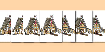 Connectives on Gingerbread House - Connectives, VCOP, connective resources, connectives display words, connective displays