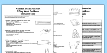 Addition and Subtraction Word Problems Activity Sheet Year 2 Romanian Translation - romanian, Maths, addition, subtraction, word problems, 2-step, Year 2, worksheet