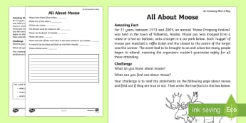 Moose Facts Activity Sheet - Amazing Fact Of The Day, activity sheets, powerpoint, starter, morning activity, February, moose, mo