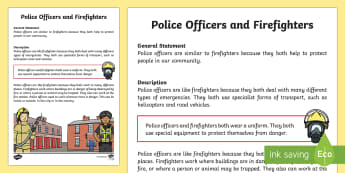 Police Officers and Firefighters Information Report Writing Sample - Literacy, Police Officers and Firefighters Information Report  Writing Sample, writing sample, writi