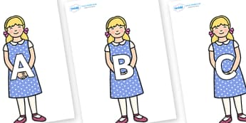 A-Z Alphabet on Goldilocks - A-Z, A4, display, Alphabet frieze, Display letters, Letter posters, A-Z letters, Alphabet flashcards