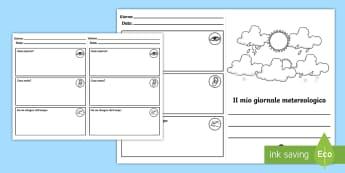 Il Mio Diario Metereologico Attività - il, mio, diario, del, meteo, metereologico, tempo, italiano, italian, materiale, scolastico