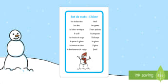 Set de mots: L'hiver - Hiver, winter, mots, vocabulaire, écriture, écrire, lecture, reading, writing, words, vocabulary,F