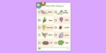 Rhestr Wirio'r Gwanwyn - welsh, cymraeg, Rhestr wirio, Gwanwyn, spring, seasons, easter, hunt, easter hunt, objects hunt, can you see?, spring sensory walk checklist, walk checklist, spring walk checklist, spring hunt, spr