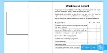 KS2 Workhouse Report Go Respond Activity Sheets - KS2 Workhouses, newspaper report writing, year 3, year 4, year 5, year 6, news report, Victorian lif