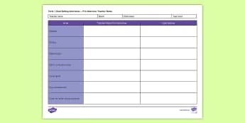 Goal Setting Interviews Pre-Interview Teacher Editable Proforma - New Zealand, Class Management, Interviews, Goal Setting, Goals, Parent Conferences