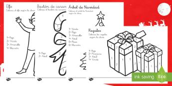Elfos Colorear con números - pintar, motricidad fina, navidad, navideño, Spanish