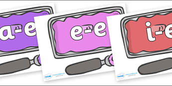 Modifying E Letters on Ice Cream Tubs - Modifying E, letters, modify, Phase 5, Phase five, alternative spellings for phonemes, DfES letters and Sounds