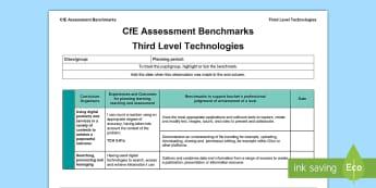 CfE Third Level Technologies Assessment Benchmarks Assessment Tracker - CfE Benchmarks, tracking, assessing, progression, technologies,Scottish