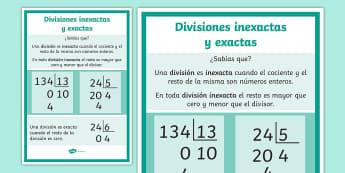 Póster DIN A4: Divisiones inexactas y exactas - dividir, división, repartir, cifras, divide, division, sharing, figures, digits, escrito, escrita,