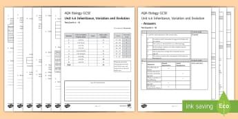 AQA Biology Unit 4.6 Inheritance, Variation and Evolution Test - KS4 Assessment, Test. inheritance, variation, chromosomes, Mendel,  fossils, genetic diagrams