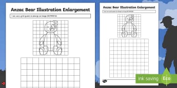 Anzac Ted Illustration Enlargement Activity Sheet  - Anzac Day, Ted, Anzac Ted, remembrance, ,Australia, worksheet, anzac bear