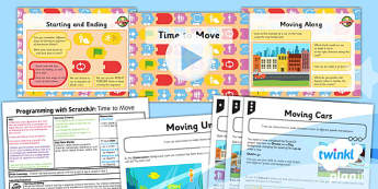 PlanIt - Computing Year 1 - Programming with ScratchJr Lesson 3: Time to Move Lesson Pack - code, coding, programming, algorithms