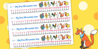 Chicken Licken Number Lines 0 30 - counting aid, count, stories