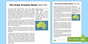 The Great Artesian Basin Fact Sheet - Water in Australia, GAB, Great Artesian Basin, groundwater, bore, bore water,Australia