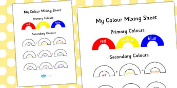 Colour Mixing Activity Sheet - colour, mixing, activity, sheet, worksheet