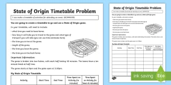 State of Origin Timetable Activity Sheet - Australian Sporting Events Maths, ACMMG139, time, timetable, create a timetable, make a timetable, r