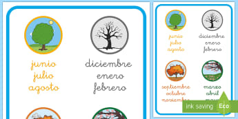 Months Of The Year Word Mat-Spanish - Spanish, KS2, seasons, months, year, calendar, word, mat, Spanish