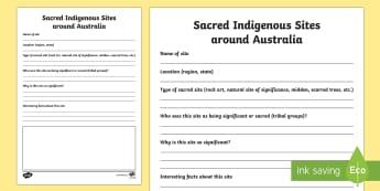 Sacred Aboriginal Sites across Australia Activity Sheet - Sacred Aboriginal Sites across Australia, sacred, site, significant, special, aboriginal, indigenous