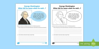 George Washington: What Did He Mean? Research and Discussion Activity Sheet - Donald Trump, American Presidents, American History, Social Studies, Barack Obama, Lyndon B. Johnson