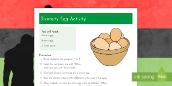 Diversity Eggs Activity Sheet - Martin Luther King, Jr., Diversity, Equality, worksheet, black history month, african american,