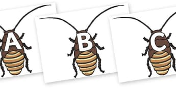 A-Z Alphabet on Cockroach - A-Z, A4, display, Alphabet frieze, Display letters, Letter posters, A-Z letters, Alphabet flashcards