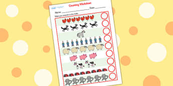 Counting Sheet to Support Teaching on What the Ladybird Heard - what the ladybird heard, counting, worksheet, counting sheet, themed worksheet, numbers, maths, numeracy