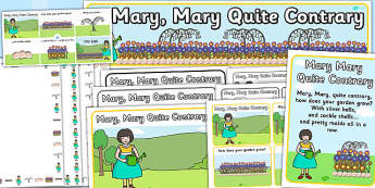 Mary Mary Quite Contrary Resource Pack - mary mary quite contrary, resource pack, resources, pack of resources, themed resource pack, lesson ideas