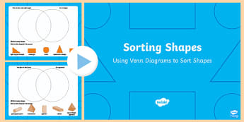 Sorting 2D and 3D Shapes in a Venn Diagram PowerPoint