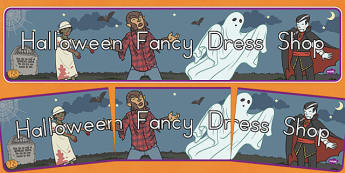 Halloween Fancy Dress Shop Role Play Banner - american, us, usa, trick or treat, role play, shopping, maths, adding, money, counting, dressing up, costumes, display, kindergarten, ks1, early years, header, title