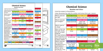 Chemical Science Questions and Colouring Activity Sheets - Science art, ACSSU003, Australian curriculum science,Australia, worksheets