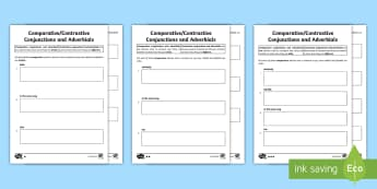 KS2 Comparative Conjunctions and Adverbials Differentiated Go Respond Activity Sheets - go respond, interactive, ipad, comparative conjunctions, conjunctions, comparing conjunctions, compa
