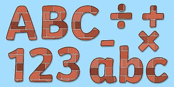 Display Lettering & Symbols (Bricks) - Display lettering, brick, houses and homes, display letters, alphabet display, letters to cut out, letters for displays, coloured letters, coloured display, coloured alphabet