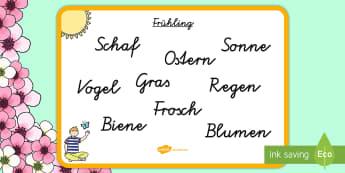 Frühlingswörter Schleichdiktat Arbeitsblatt - Frühling, Spring, Diktat, Blume, Vogel, Gras Frosch, Schaf, flower, sheep, grass, frog,German